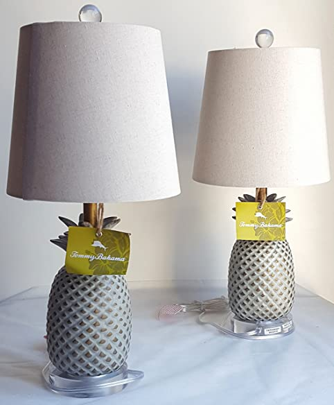 Pair Of Two (2) Tommy Bahama 20u0026quot; Pineapple Table Lamps With Linen  Shades
