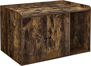 FEANDREA Cat Litter Box Enclosure, Wooden Hidden Cat Box Furniture, Cat Washroom with Doors, Pet House End Table, Indoor Cabinet, Home Nightstand, 32.4 x 29.9 x 19.7 Inches, Rustic Brown UPCL001X01