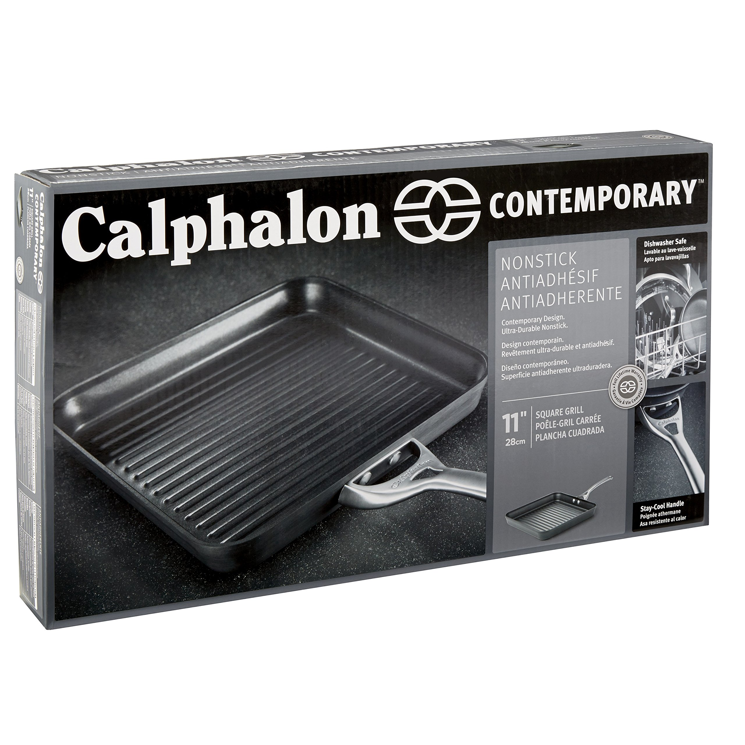 Calphalon Contemporary Hard-Anodized Aluminum Nonstick Cookware, Square Grill Pan, 11-inch, Black by Calphalon (Image #6)
