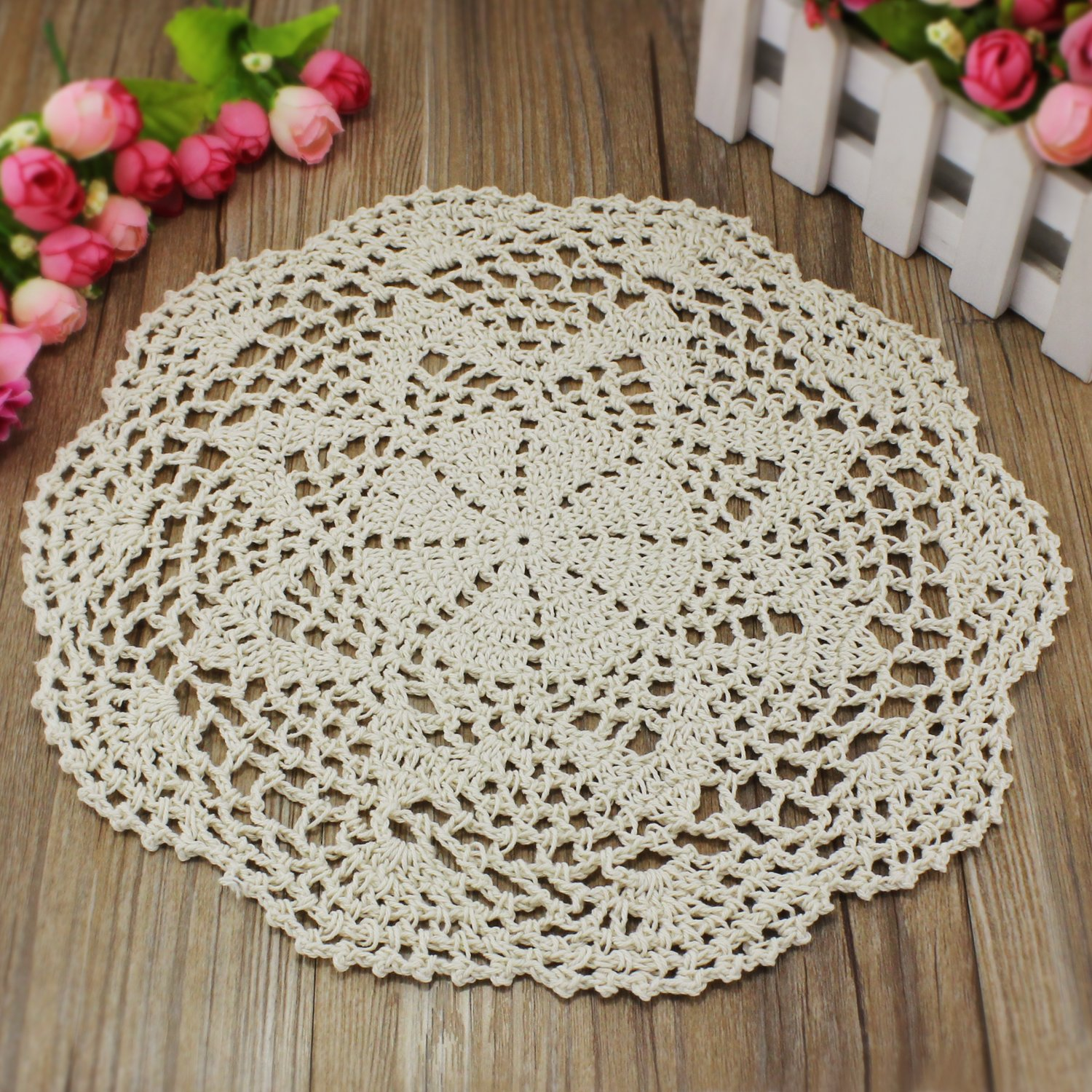 PsmGoods Handmade Cotton Lace Table Placemats Round Crochet Flower ...