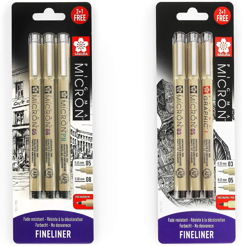 Blister Pack of 6 0.3//0.5mm//Graphic Pigment Fineliner Pens 0.5//0.8mm//PN Black Ink Sakura Pigma Micron