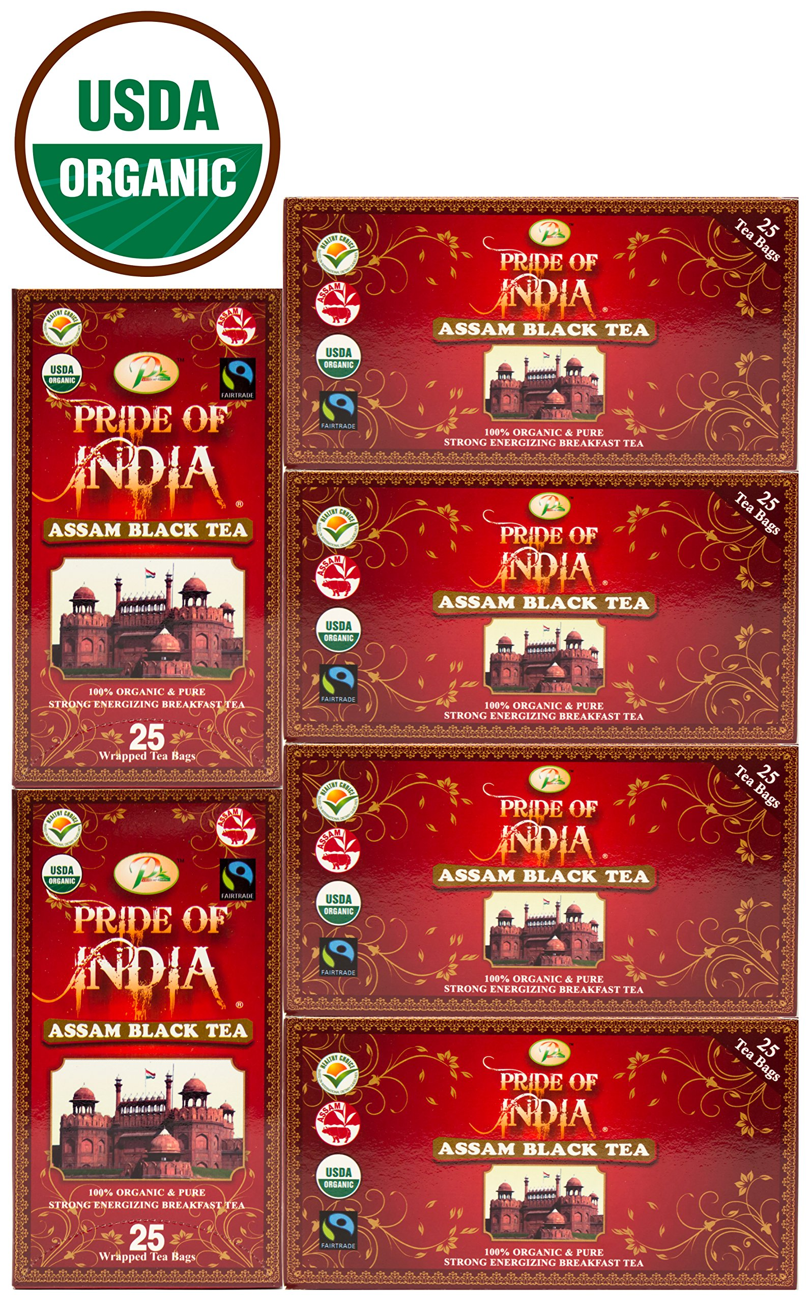 Pride Of India - Organic Indian Assam Breakfast Black Tea, 25 Count (6-Pack) REGULAR PRICE: $27.99, HOLIDAY LIMITED TIME SALE PRICE: $24.99