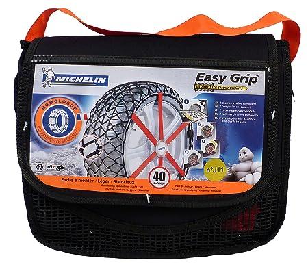 Michelin 92302 Cadenas de nieve de tela para coche (compatible con ABS y ESP, certificado TÜV/GS y ÖNORM), Easy Grip J11, 2 piezas: Amazon.es: Coche y moto