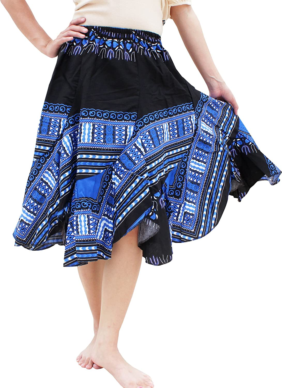 Raan Pah Muang RaanPahMuang CarvedパッチDashiki print short Capriウエストゴムダンススカート B075SL1JDX Medium|Black - Blue Black - Blue Medium