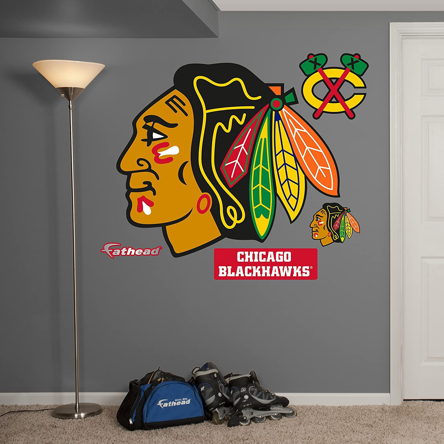 Amazon.com : NHL Chicago Blackhawks Logo Fathead Wall Decal, Real Big :  Sports U0026 Outdoors