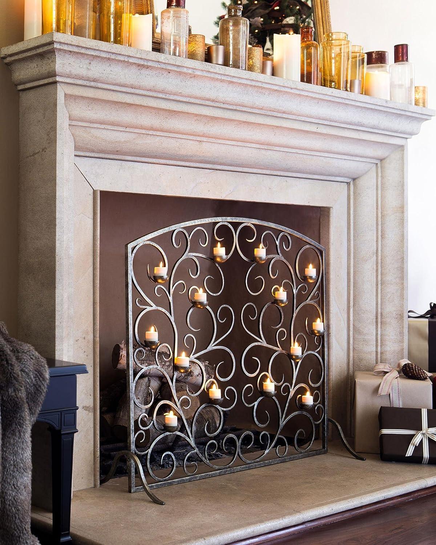 amazon com balsam hill tea light fireplace screen home u0026 kitchen