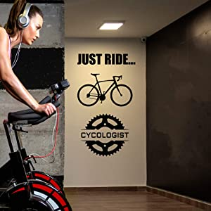 CB Inspired Cycologist Wall Decal -Motivational Gym Wall Decals for Home Gym Decor for Home Gym Spin Class Workout Room Decor - CrossFit Wall Decor - Home Gym Wall Decor - Removable Vinyl Wall Stickers Cycling Inspirational Wall Art - Just Ride