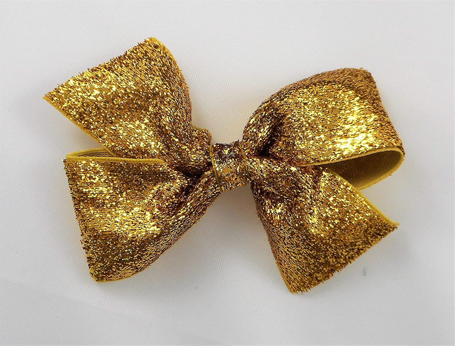 Easter hair bow set of 6 hair bow clips wholesale bow lot gold and hot pink hair bow gold striped yellow hair bow gold and blue hair bow