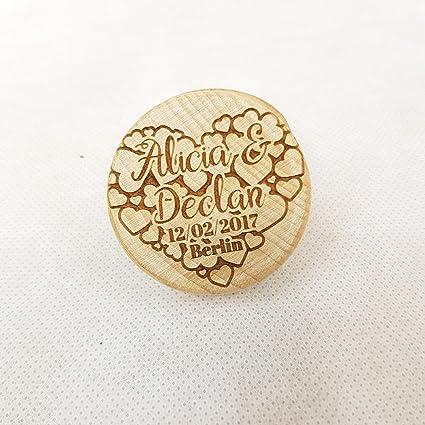 Personalizable de madera en forma de corazón burbujas anillo caja ~ compromiso propuesta matrimonio ~ láser