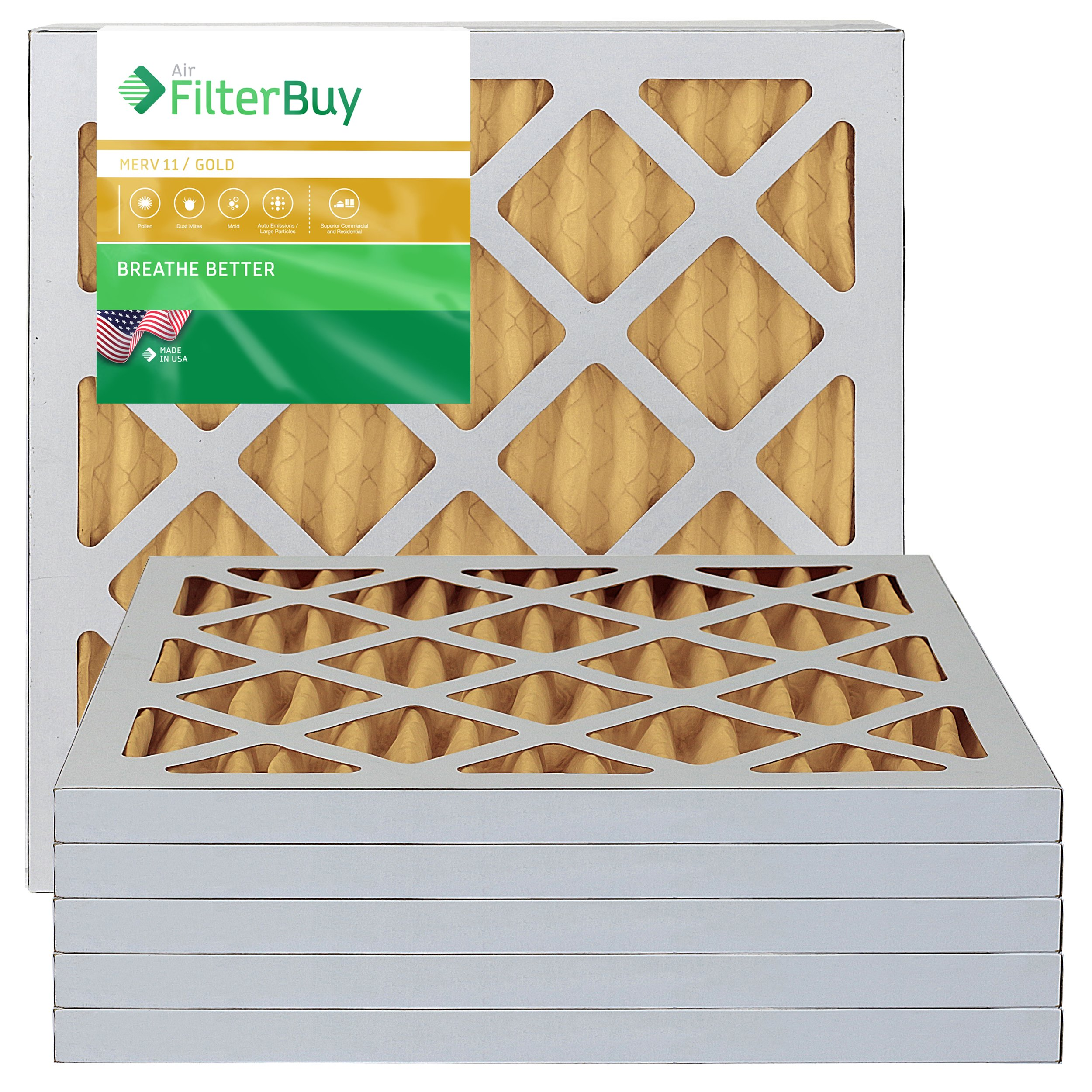 10x10x1 AFB Gold MERV 11 Pleated AC Furnace Air Filter. Pack of 6 Filters. 100% produced in the USA.