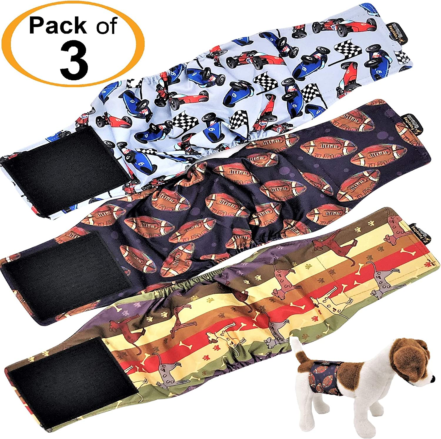 FunnyDogClothes Pack of 3 or 6 Male Dog Diapers 4 Layers of Absorbent Pads Waterproof Leak Proof Belly Band Wrap Washable