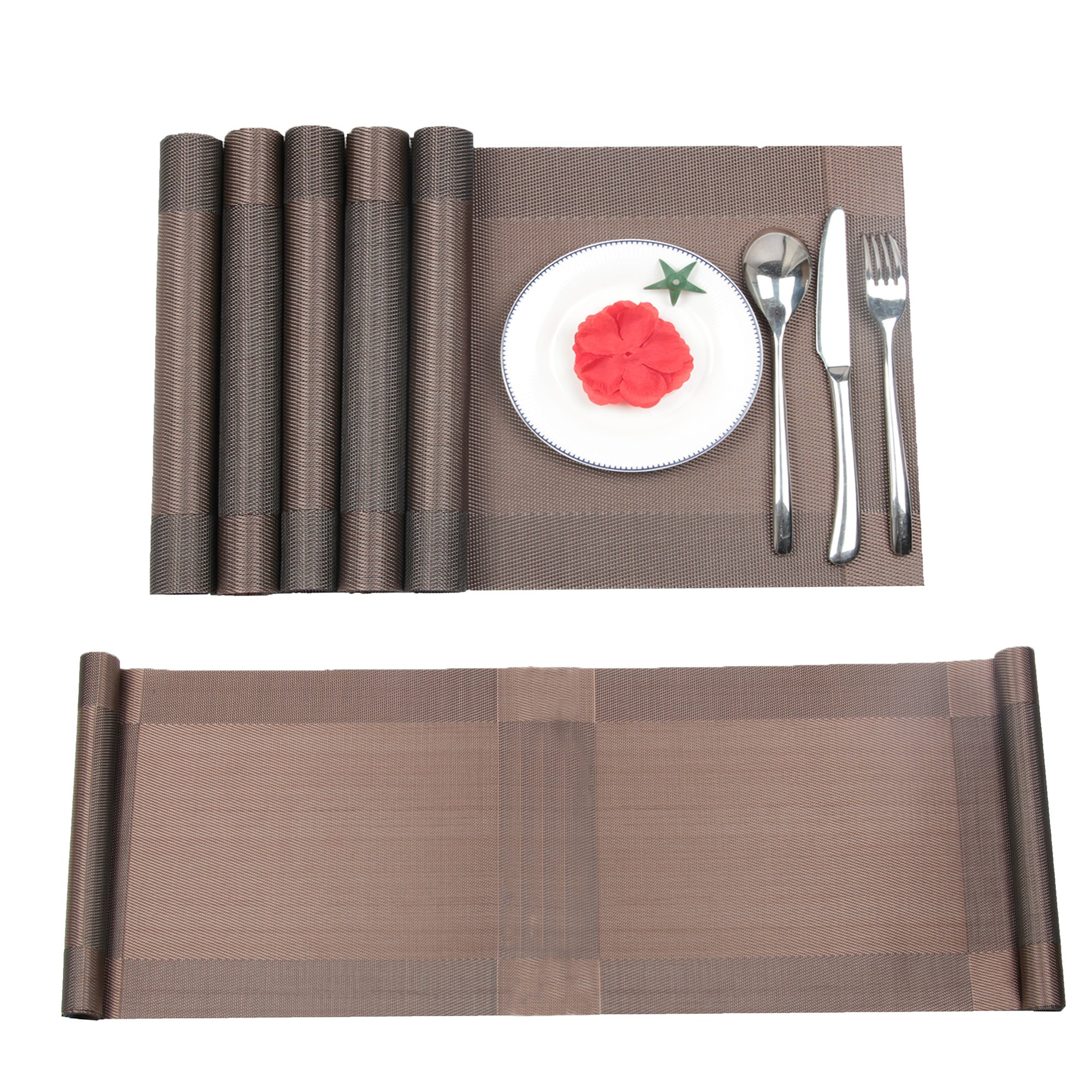 Furnily Placemats Set of 6 and Table Runner Set, Plastic Dining Table Mats Non Slip Heat Resistant Place Mats for Dining Table (Placemats set of 6 and table Runner,Brown)