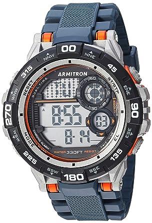 Armitron Sport Mens 40/8441NVY Orange Accented Digital Chronograph Navy Blue Resin Strap Watch
