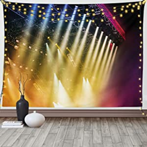 Ambesonne Musical Theatre Tapestry, Colorful Rays Concert Dance Music Staging Technology Smoky Night Print, Wide Wall Hanging for Bedroom Living Room Dorm, 80