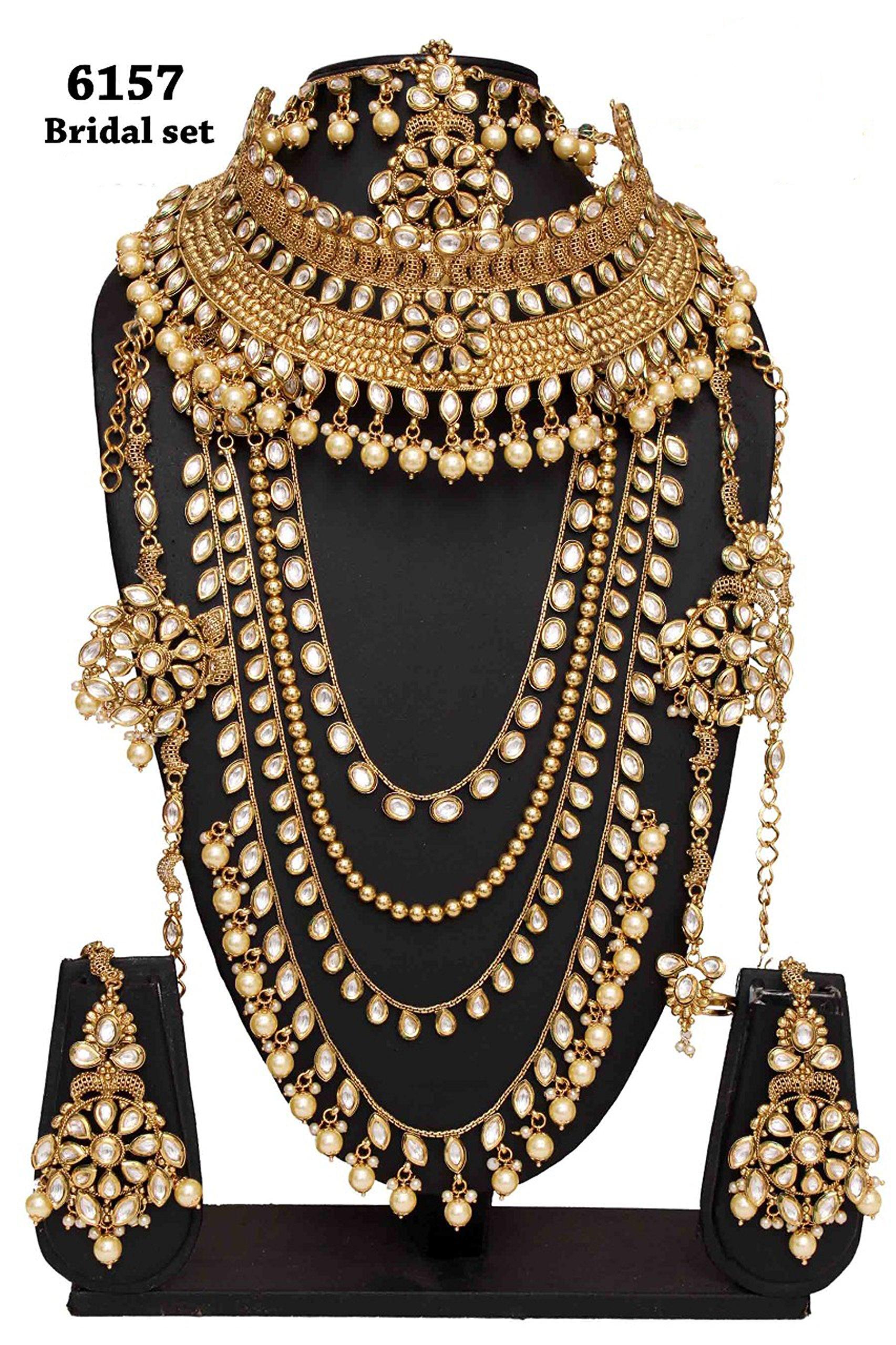 Bollywood Fashion Style Golden Plated Kundan Stone Polki Indian Necklace Earrings Bridal Set Jewelry