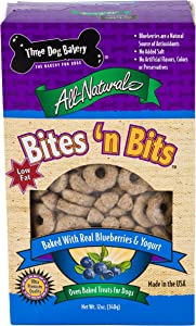 Three Dog Bakery Bites 'N Bits, Baked Dog Treats, 12 Ounces, Blueberries & Yogurt