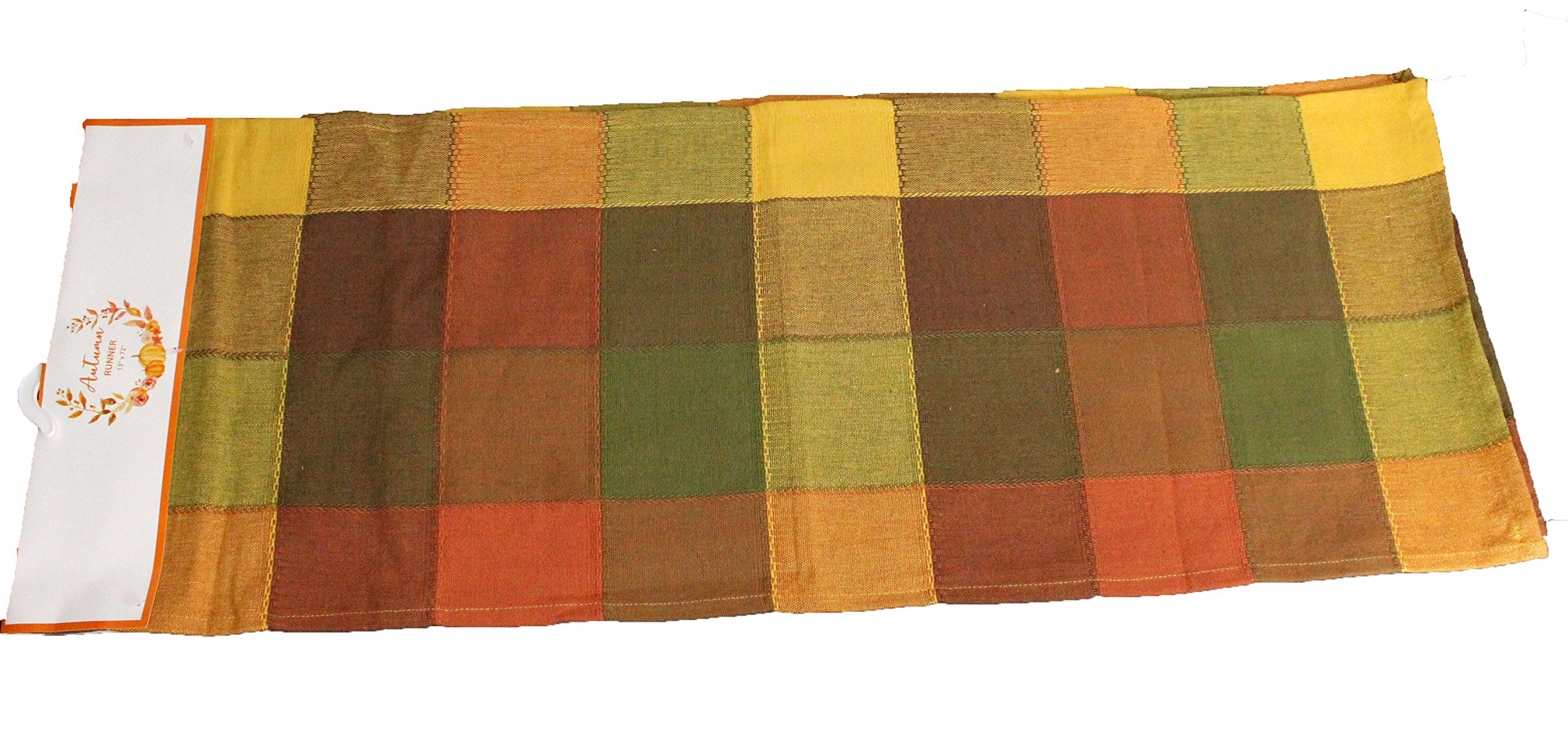 Twisted Anchor Trading Co Fall Table Runner - Terracotta Dark Plaid - Casual Cotton Fall Table Runners 72 Inch x 13''