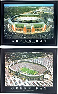 Green Bay Packer Old and New Lambeau Field Stadium Print Set of 2 Framed LL6012