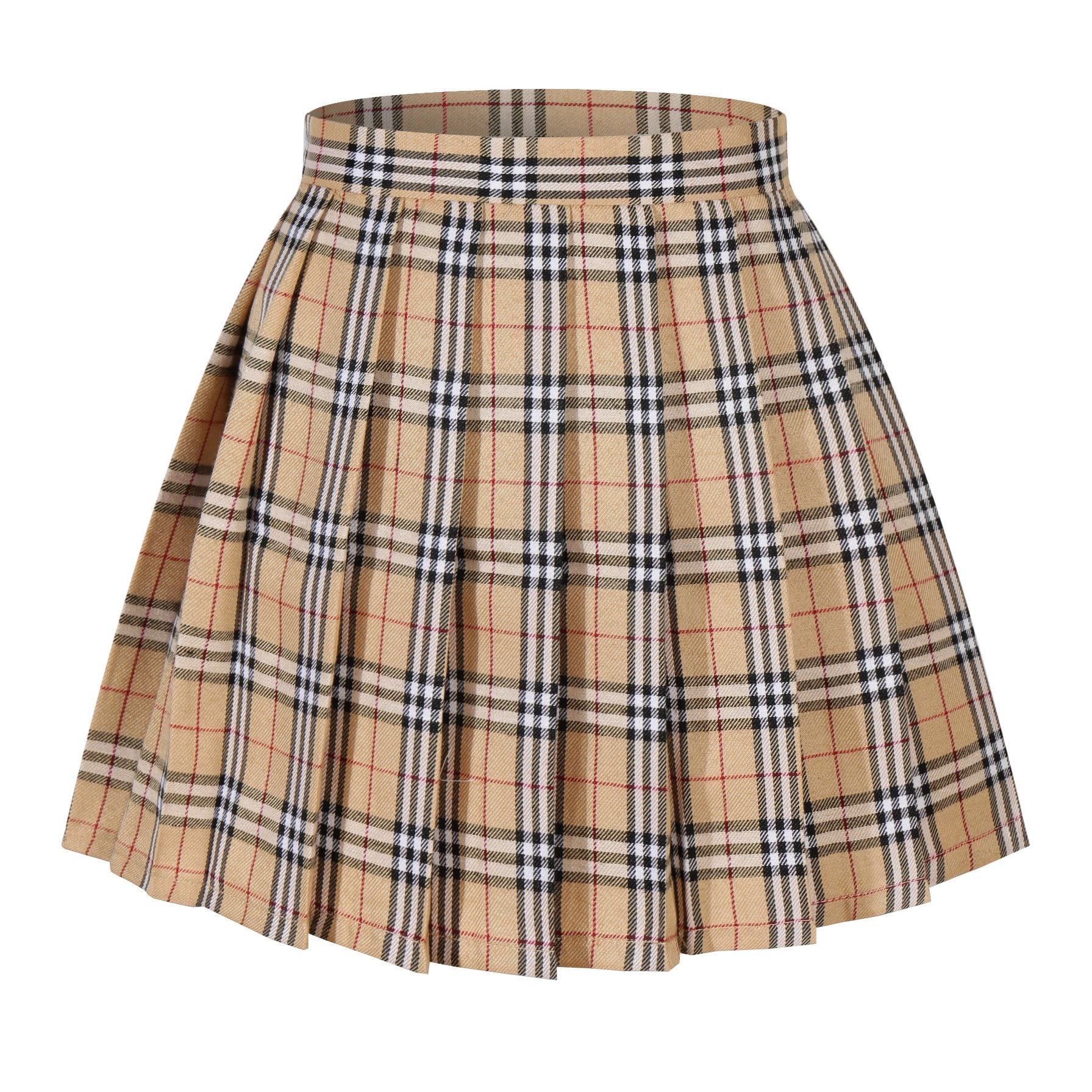 Girl's School Uniform Plaid Pleated Costumes Skirts (M, Yellow mixed white)