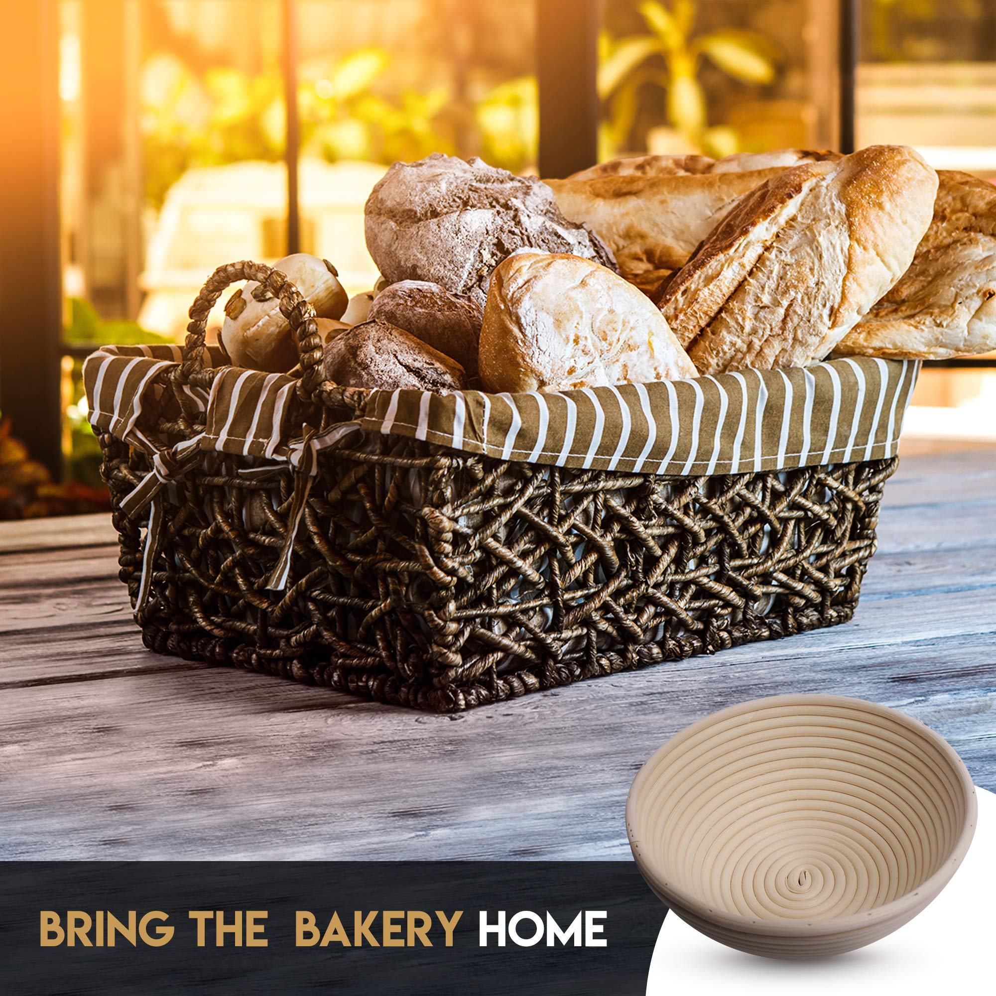 Banneton Bread Proofing Basket By Caesar Bread, 9 Inch Round Sourdough Brotform For Rising Dough Set, Include Cloth Liner, Scraper, Bread Lame, Brush & Recipe Book For Beginners & Professional Bakers by Caesar Bread (Image #6)