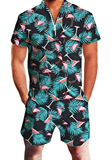 c0a10ff27 AIDEAONE Mens Casual 3D Printed Short Sleeve Rompers Zip Jumpsuit with  Pocket S-XXL