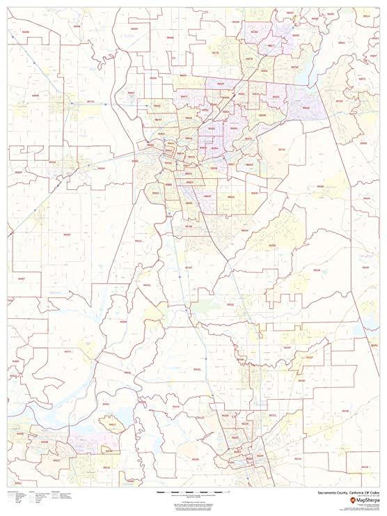 Amazon Com Sacramento County California Zip Codes 36 X 48