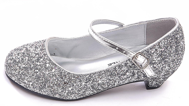 (BS-41) - New Girls Kids Childrens Mary Jane Glitter Low Kitten Heel Party Wedding Sandals Court Shoes BS-41__B3_L15
