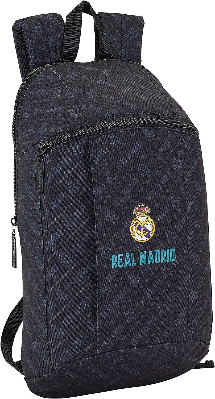 Safta Mini Mochila Day Pack Estamp Real Madrid Black Oficial Uso Diario 220x100x390mm