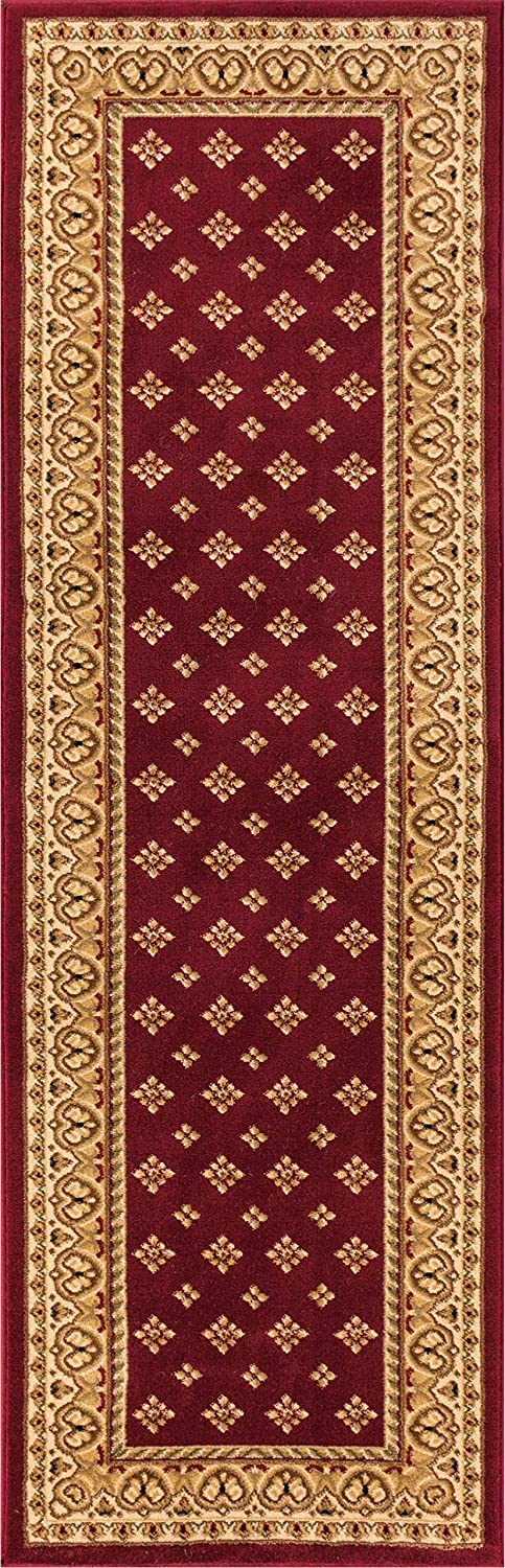 """Noble Palace Red French European Formal Traditional Rug 2x7 (2'3"""" x 7'3"""" Runner) Easy to Clean Stain Fade Resistant Shed Free Modern Contemporary Floral Transitional Soft Living Dining Room Rug"""