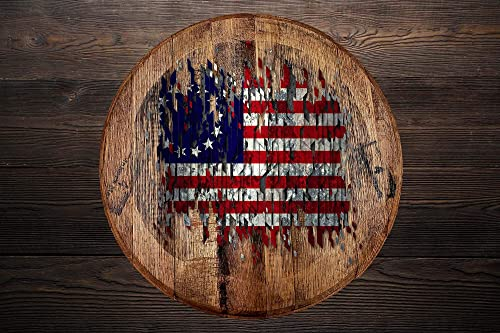Whiskey Barrel Head Vintage Distressed 13 Star American Flag Betsy Ross Wall Decor Bar Sign Man cave Accessorie