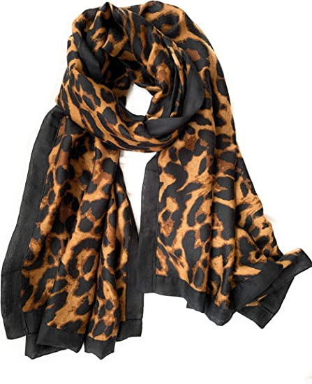 Womens Grey Animal Print Chiffon Scarf ** FREE GIFT WRAPPING AVAILABLE **