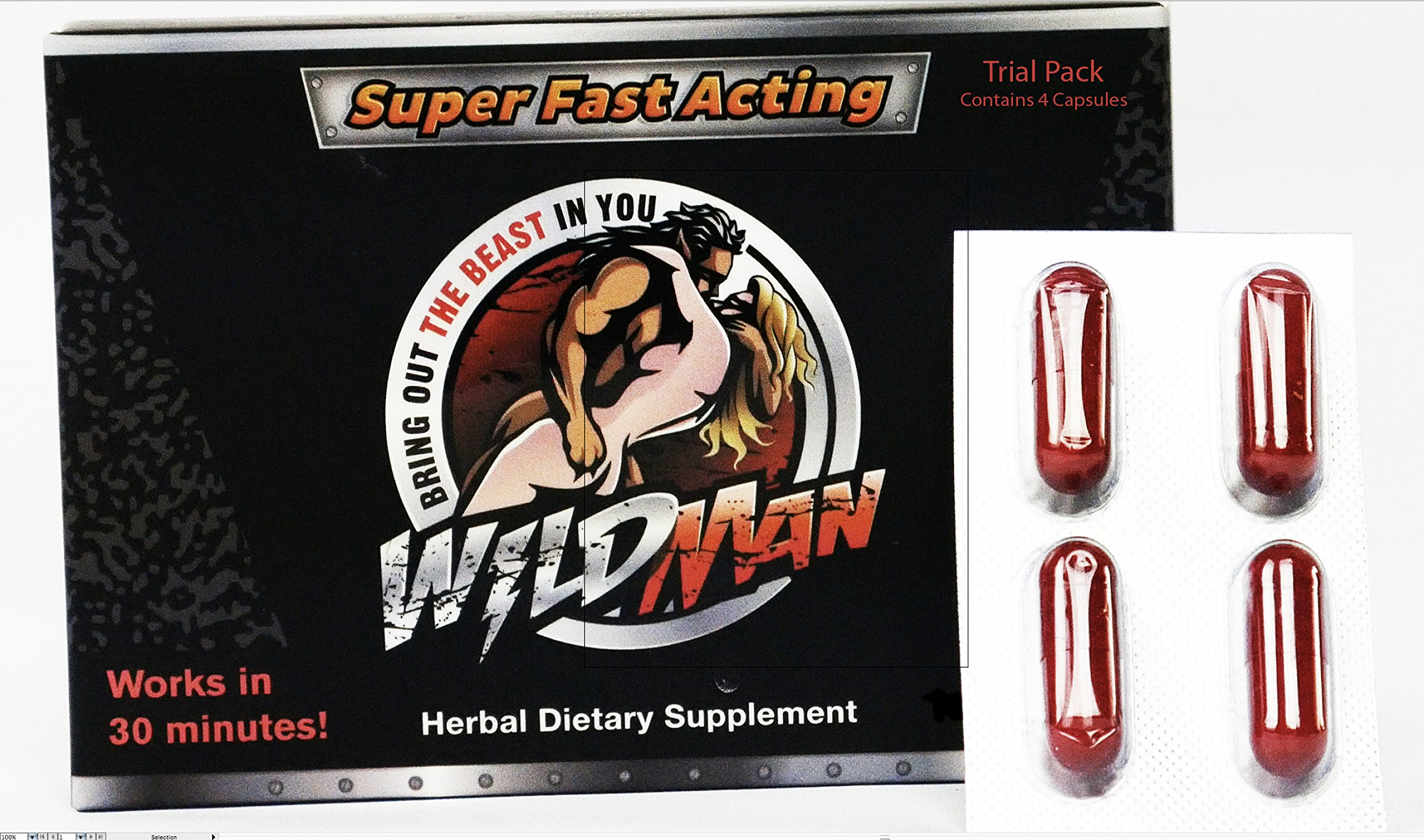 WILDMAN NEW NATURAL MALE PERFORMANCE by the makers of SCHWINNNG Trial Pack (4) Capsules
