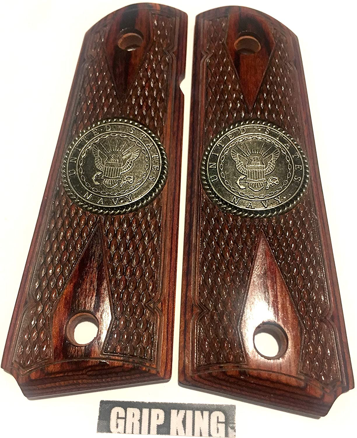 1911 GRIPS,U.S.NAVY,BURLED ROSEWOOD.FITS COLT,SIG,RUGER,TAURUS,SPRINGFIELD,PARA,REMINGTON,WILSON,ACE,ITHACA S & W, CLONES. SALE $39.88