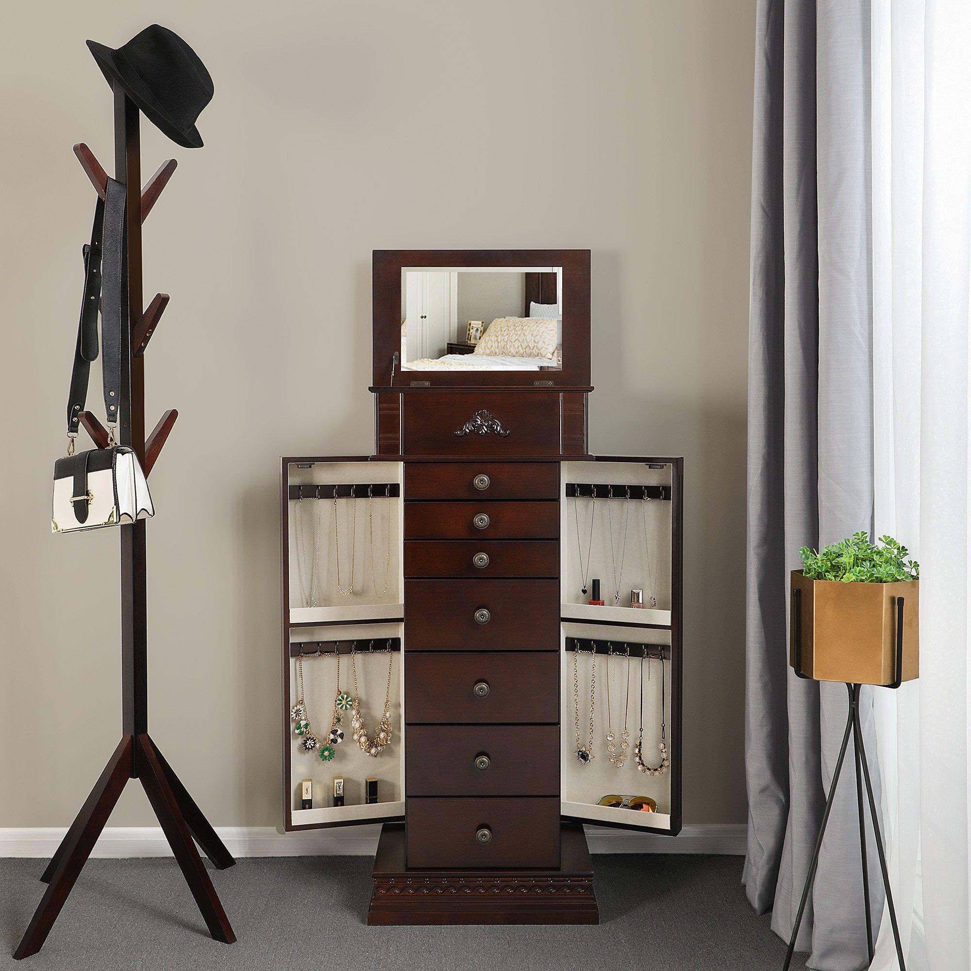 SONGMICS Large Jewelry Armoire Cabinet Standing Storage Chest Neckalce Organizer Dark Walnut UJJC14K by SONGMICS (Image #3)