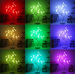 Night Light Rose Flower Desk Tree Light with Remote Control 16 Color Changing Gift for Girls Women Teens Home Décor for Wedding Christmas Living Room Bedroom Party with Color Changing (Rose) …