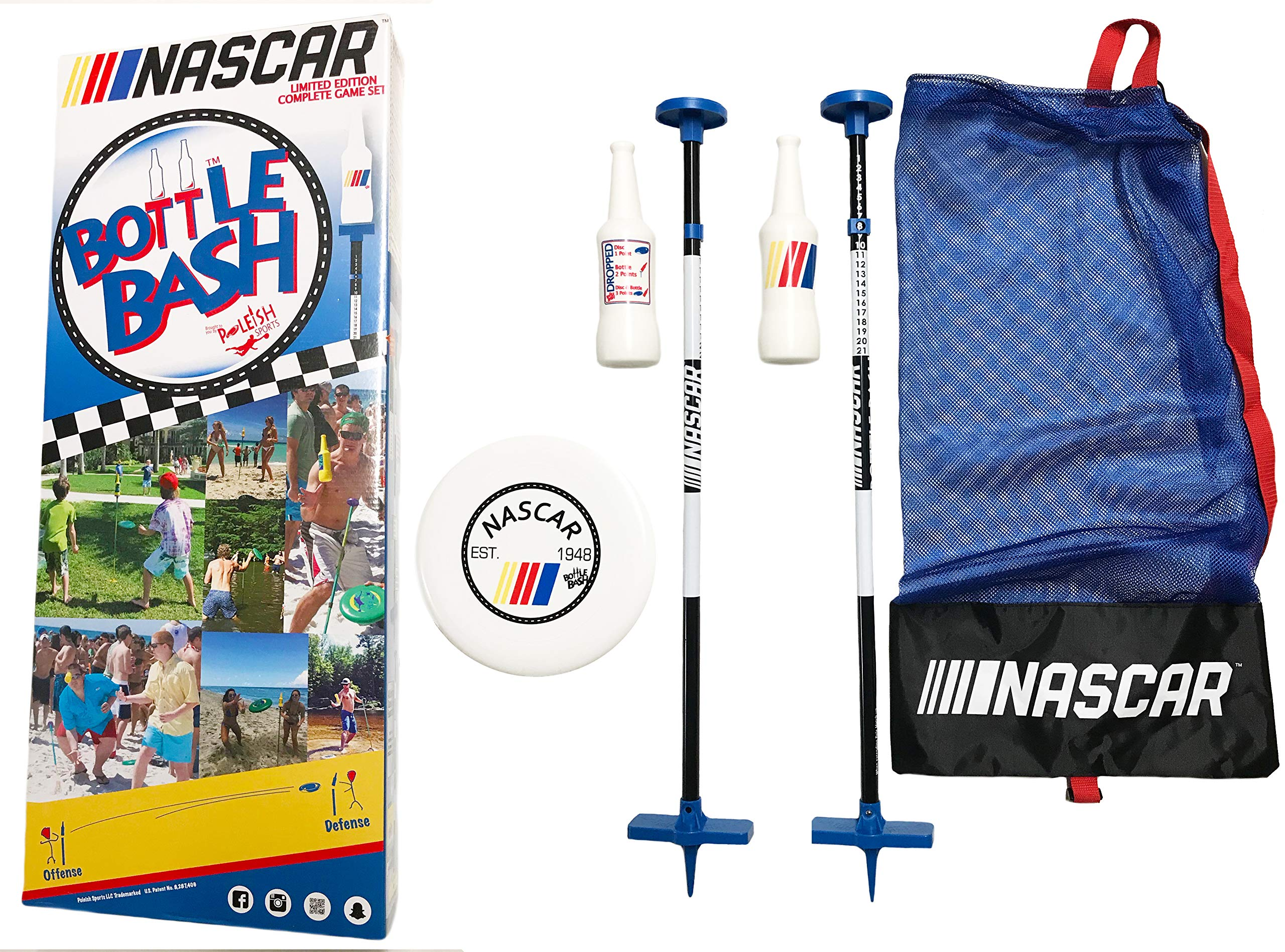 Bottle Bash NASCAR Game Set with Soft Surface Spike (Polish Horseshoes, Beersbee) by Poleish Sports