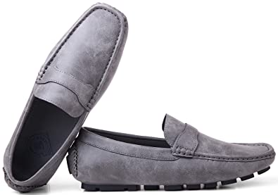 ae0b1f1c57a Gallery Seven Driving Shoes for Men - Casual Moccasin Loafers - Charcoal -  US-7.5