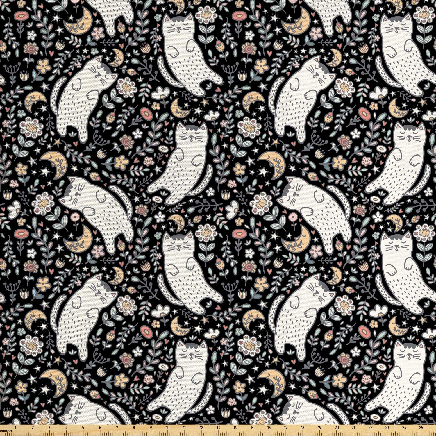 Lunarable Kittens Fabric by The Yard, Repetitive Jumble Pattern of Cats Flowers and Moon Nighttime Layout, Decorative Fabric for Upholstery and Home Accents, 1 Yard, Multicolor
