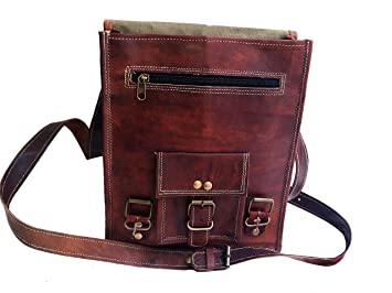 28 cm Hecha a mano Marron elegante Bolso de cuero del mensajero para portátiles cada día Bolso de hombro cartera para tablets, ipad, charger para hombres ...