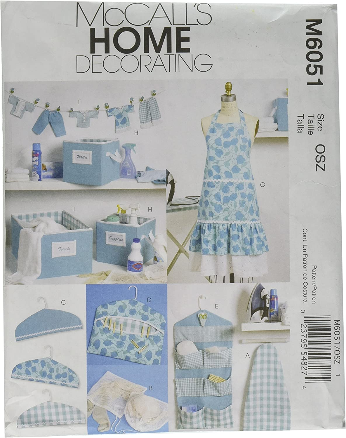 McCall's Patterns M6051 Apron, Ironing Board Cover, Organizer, Bins, Hanger Cover, Clothespin Holder, Banner and Scissor Caddy