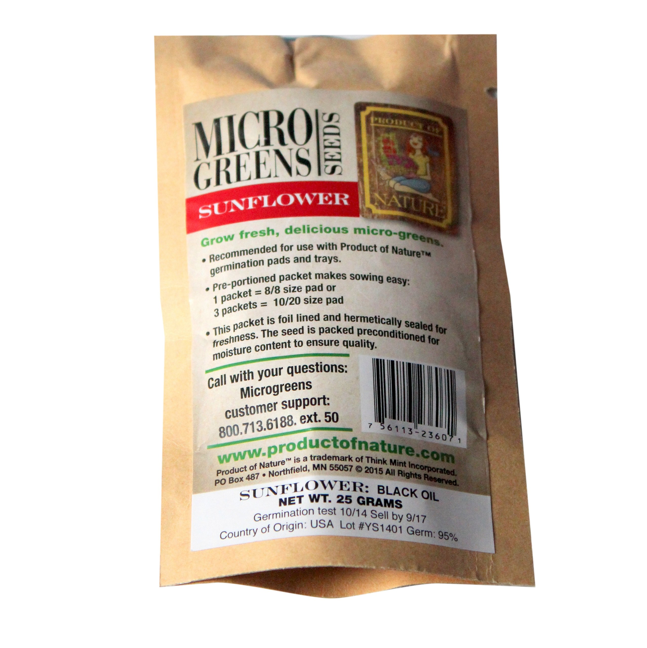 Product of Nature Micro Greens Seeds Sunflower, 0.88 Ounce (Pack of 24)