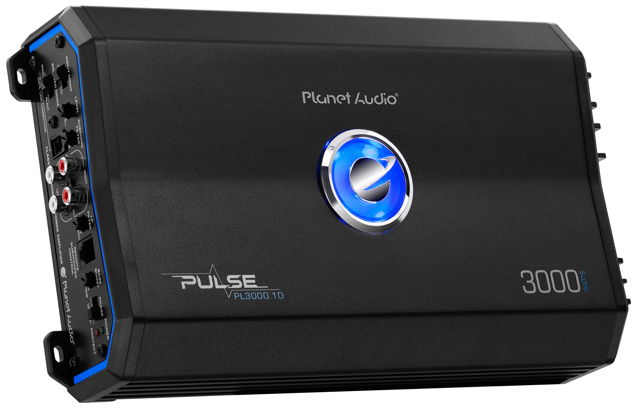 Planet Audio PL3000.1D Pulse 3000 Watt, 1 Ohm Stable Class D Monoblock Car Amplifier with Remote Subwoofer Control