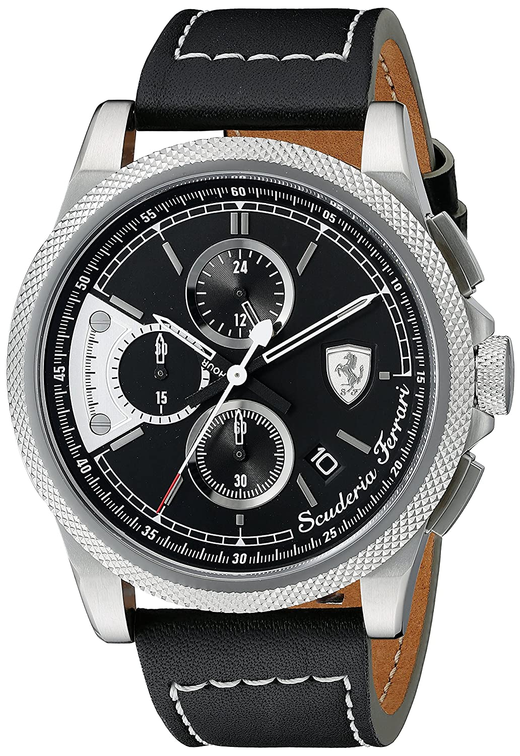 8f8ade660 Amazon.com: Ferrari Men's 0830275 FORMULA ITALIA S Stainless Steel Watch  with Black Leather Band: Watches