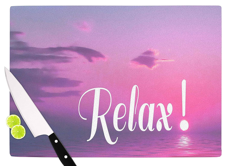 Multicolor 11.5 x 15.75 KESS InHouse Alison CoxonRelax Pink Typography Cutting Board