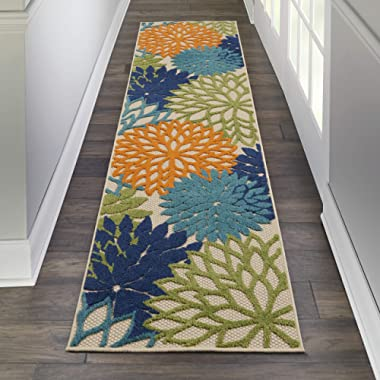 Nourison Aloha ALH05 Indoor/Outdoor Floral Blue Multicolor 2'3  x 8' Area Rug Runner (2'x8')