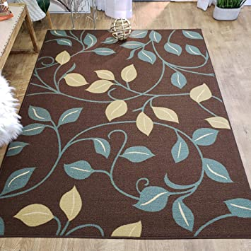 Amazon Com Area Rug 5x7 Brown Floral Kitchen Rugs And Mats Rubber