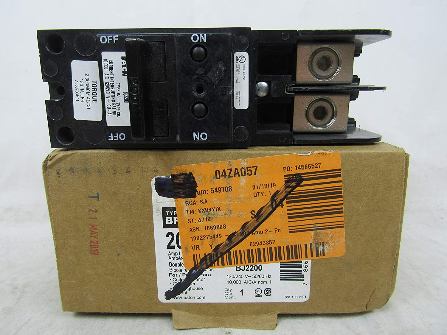 Cutler-Hammer BJ2200 BJ-2200 200-Amp Bolt-In Main Circuit Breaker