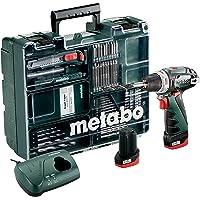 Metabo 600080880 10.8-Volt Akku-Bohrschrauber PowerMaxx BS Basic Mobile Werkstatt + 64-teiliges Zubehör Set, 10.8 V, grün grau schwarz rot