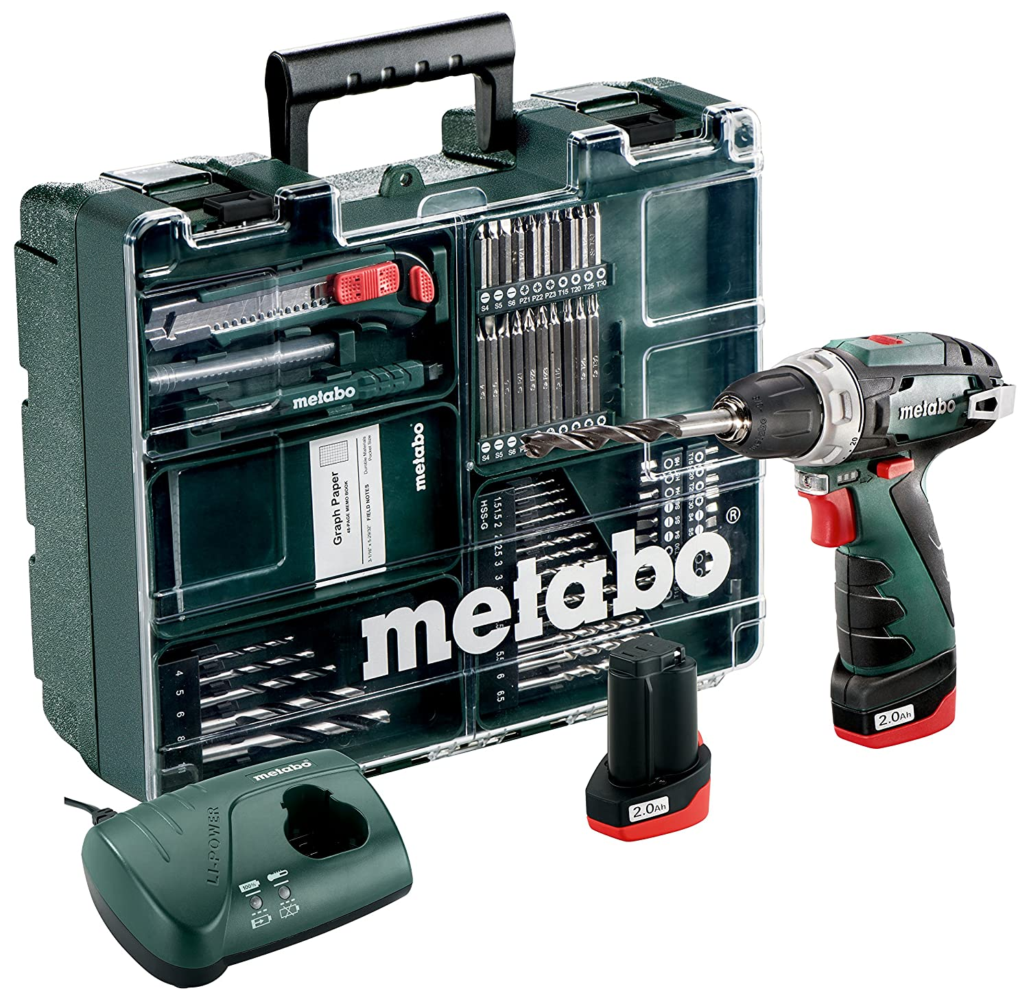 Green Charger 2 x 2.0Ah Batteries and 62 Piece Mobile Workshop Metabo 6.00080.88 PowerMaxx BS Basic Driver with Quick Change Drill Chuck 1