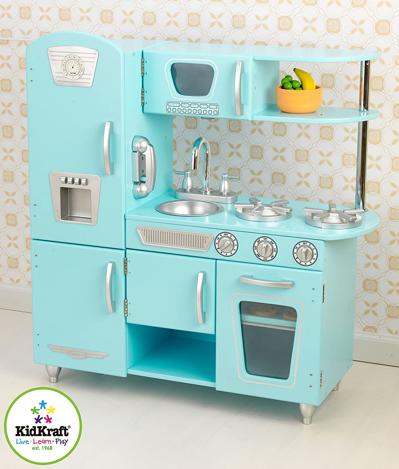 Amazon com kidkraft vintage kitchen in blue toys games